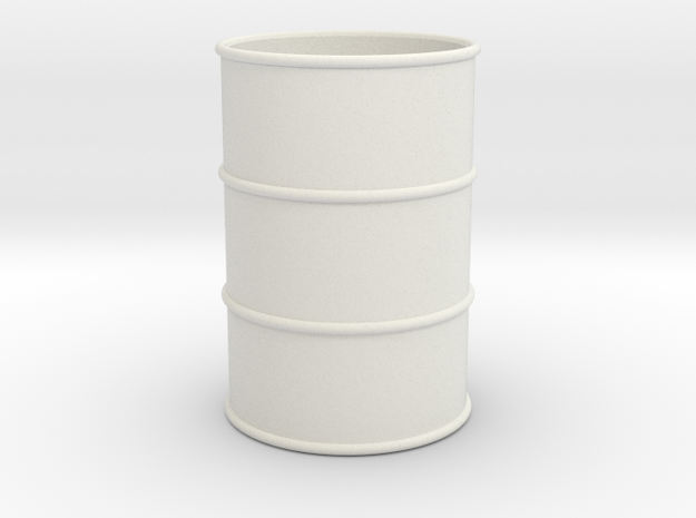 G Scale 44 Gallon Drum 1:22.5 (open one end) in White Natural Versatile Plastic