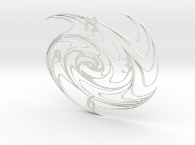 Paint Swirl Clock Face in White Natural Versatile Plastic