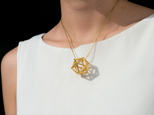 Icosahedron Pendant in Polished Gold Steel