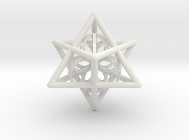 Merkaba Seed Of Life Pendant in White Natural Versatile Plastic