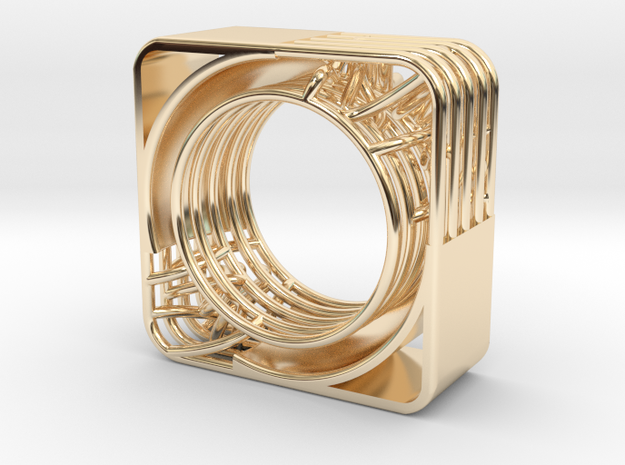 LOFF - wire cubic ring and pendant 2 in 14K Yellow Gold