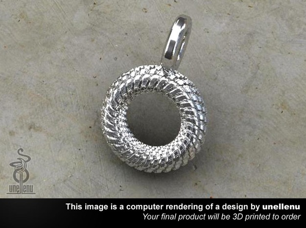 Mens Pendant / Keyring tag: Tyre 2.5cm in Polished Silver