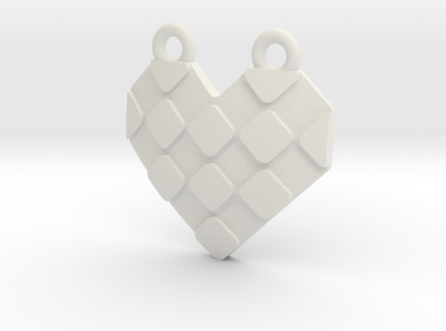 Origami Heart Pendant - checkered in White Natural Versatile Plastic