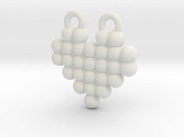 Display Dot Heart Pendant in White Natural Versatile Plastic