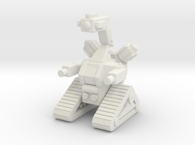 1/87 Scale Tracked Sentry Robot in White Natural Versatile Plastic