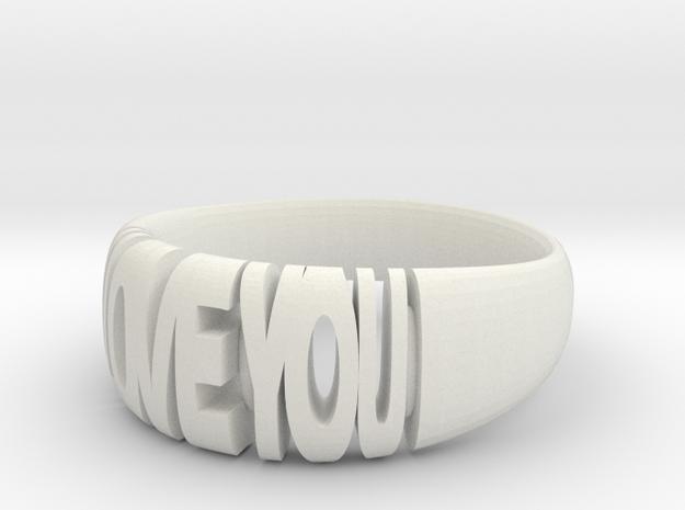 Valentine ring, I Love You in White Natural Versatile Plastic