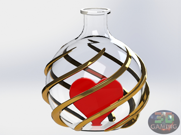 Love Bottle Pendant (Healh Potion) in Smooth Fine Detail Plastic