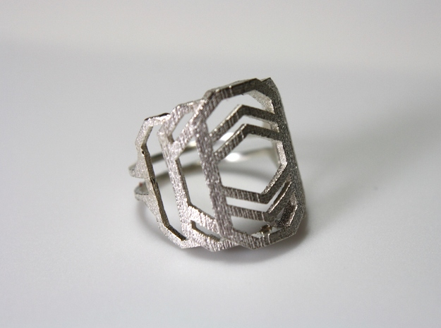 Art Deco Ring - Layers Of Life - US Size 07 in Natural Silver