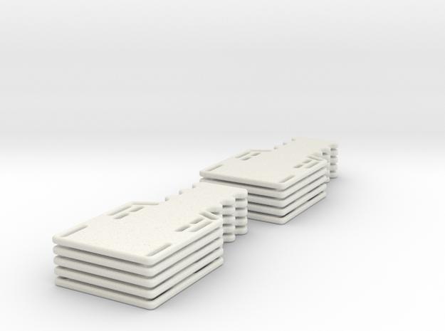 1/24 scale Half spine board set (10) in White Natural Versatile Plastic