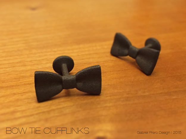 Bow Tie Cufflinks in Matte Black Steel