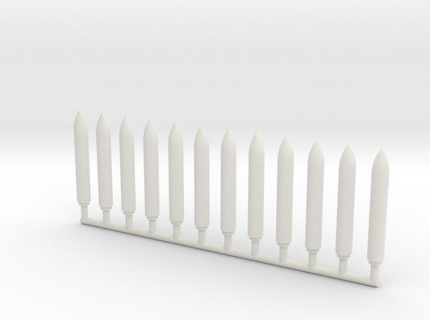 1/700 UGM-27 Polaris (A-3) SLBM (x12) in White Natural Versatile Plastic