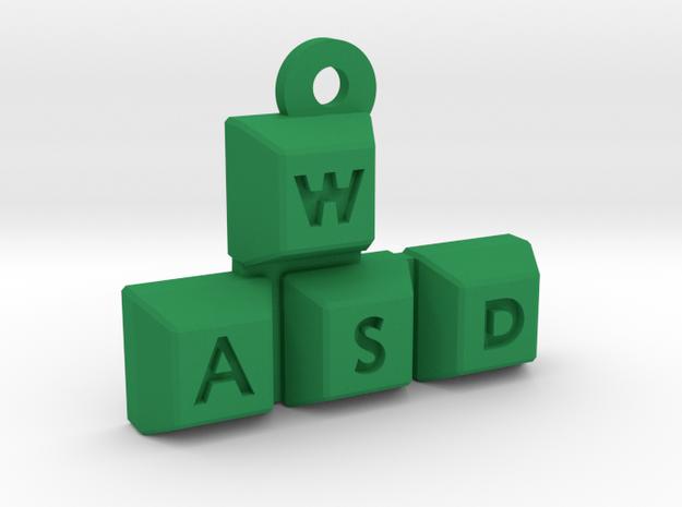 WASD Keychain / Pendant in Green Processed Versatile Plastic