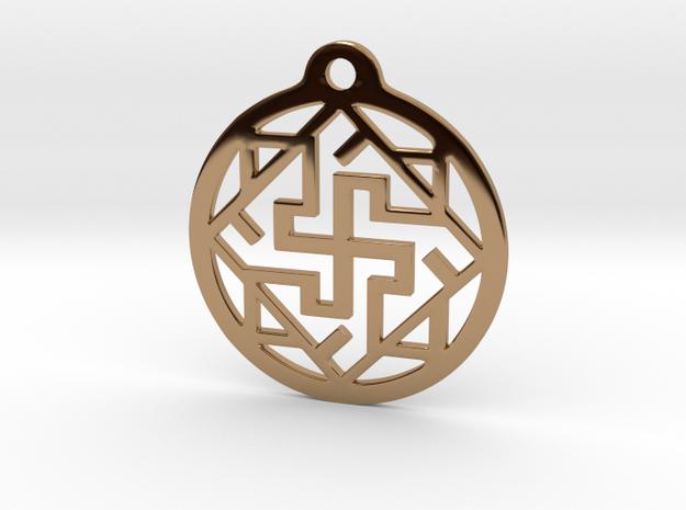Swasthik / Kolam Pendant in Polished Brass