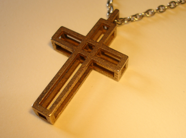 Boxed Cross Pendant in Polished Bronzed Silver Steel
