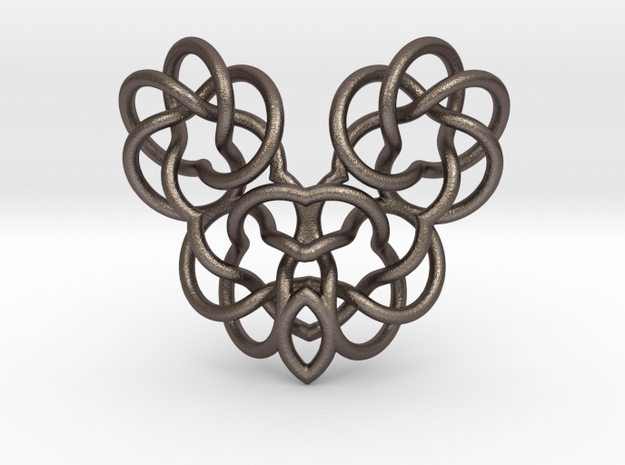 Heart/Skull  in Polished Bronzed Silver Steel