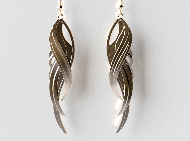 Feather Earrings in 14K Yellow Gold