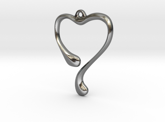 Heart shape pendant in Polished Silver