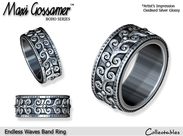 Endless Waves Band Ring in Polished Silver