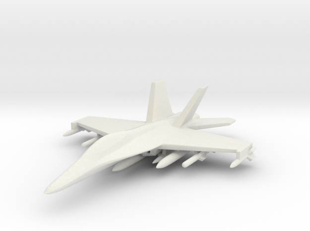1/285 (6mm) F-18 Super Hornet w/Ordnance Pack-2 in White Strong & Flexible