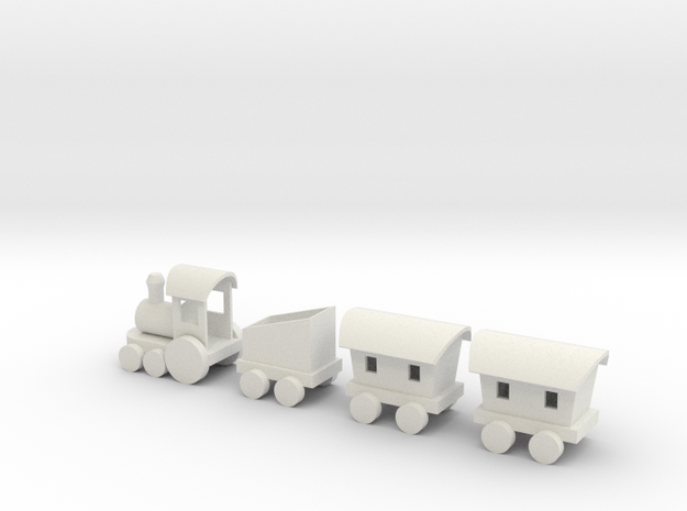 Toy Train in White Natural Versatile Plastic