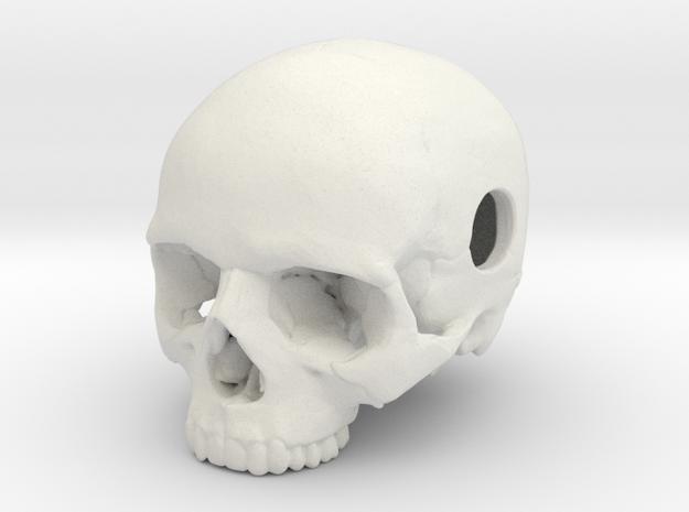 20mm .8in Keychain Bead Human Skull in White Natural Versatile Plastic