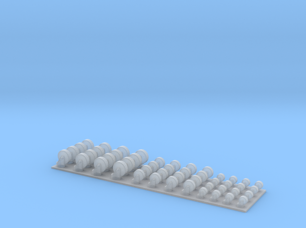 2-3-4 Casters 1/24 Scale in Smooth Fine Detail Plastic
