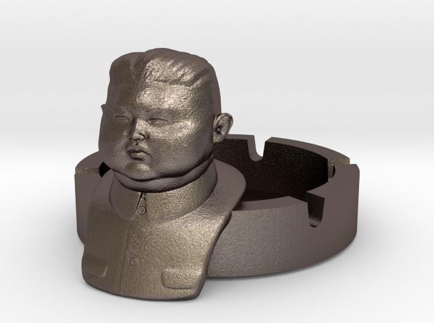 Kim Jong Ashtray Ver. 2 in Polished Bronzed Silver Steel