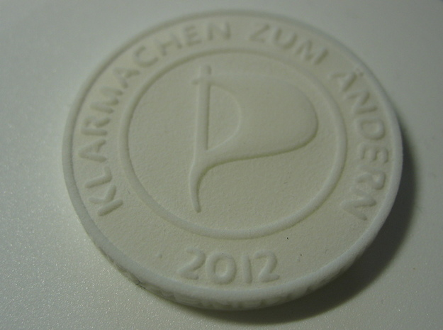 Piratenmünze 4cm 3d printed Strong & Flexible Plastics White
