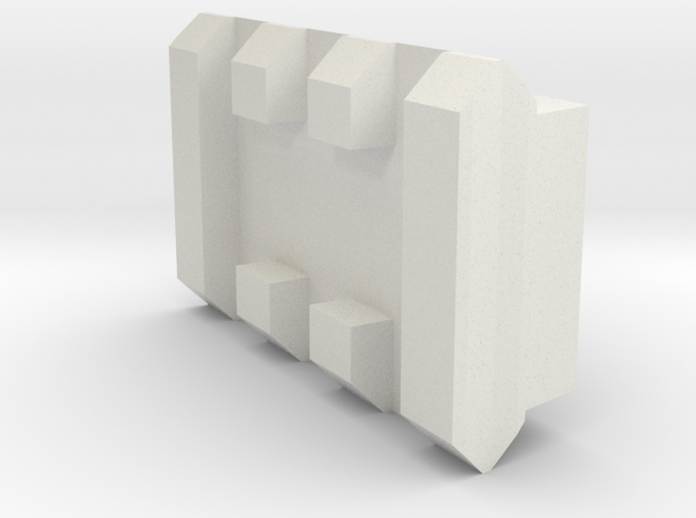 3 Slots Rail With Center Slot in White Natural Versatile Plastic