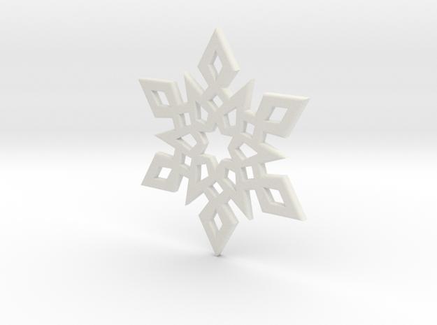 Snowflake Pendant 2 in White Strong & Flexible