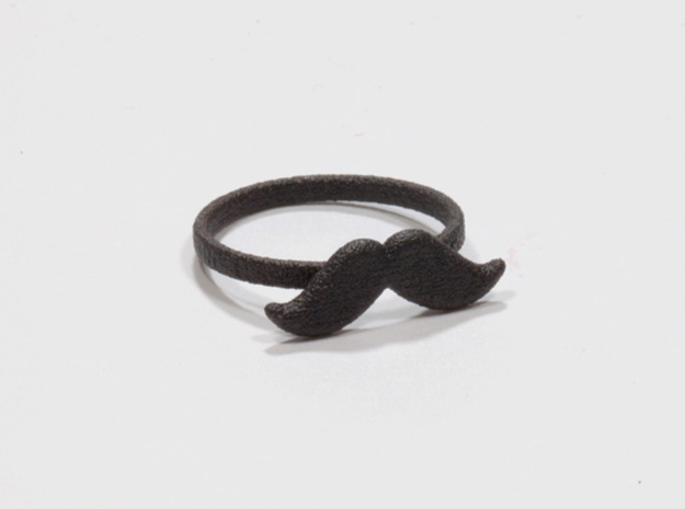 Ring Moustache in Matte Black Steel