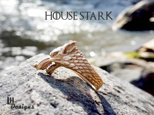 Size 10 Direwolf Ring in Natural Bronze