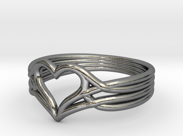 Woven Heart - Smaller (Size 7) in Fine Detail Polished Silver