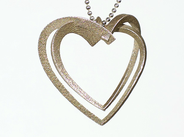 2 Hearts in Polished Bronzed Silver Steel: Large