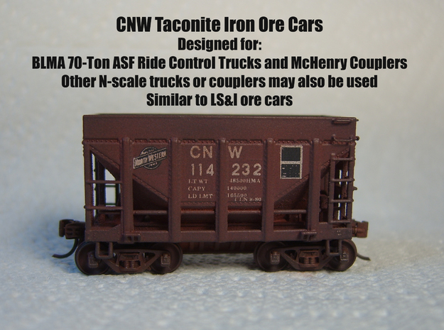 CNW Ore Car Four Pack, N Scale in Frosted Ultra Detail