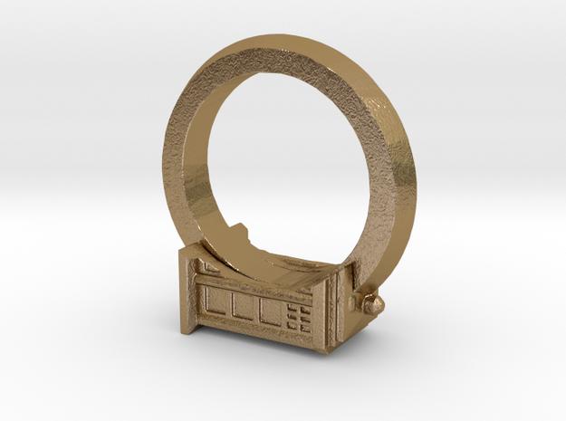 TARDIS 8.5 ring.  Beautiful.    in Polished Gold Steel