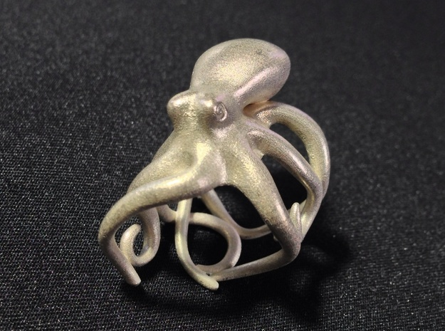 Octopus Ring 15mm in Natural Silver