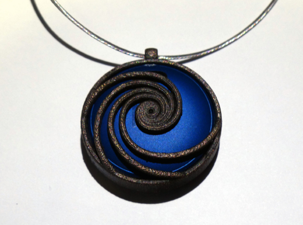 Pendant for Misfit Shine - Phi Wave in Polished Bronzed Silver Steel