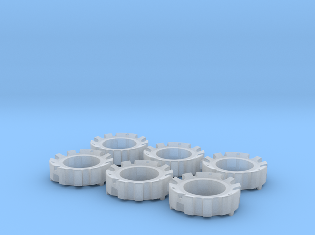 1/64 Wheel Weights Outer (6 Pieces) in Smooth Fine Detail Plastic