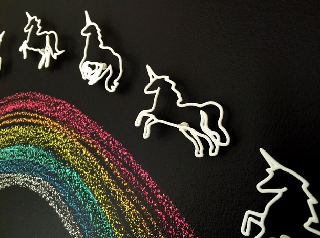 Unicorns: Wire Wall Art in White Strong & Flexible