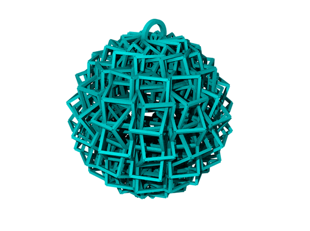 Cube Ball Ornament 1.2 (Christmas edition) in White Strong & Flexible