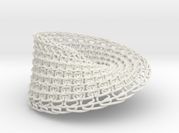 Knitted Mobius in White Natural Versatile Plastic