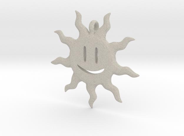 Smiling sun pendant 3d printed