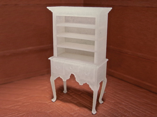 1:48 Queen Anne Highboy with Shelves in Frosted Ultra Detail