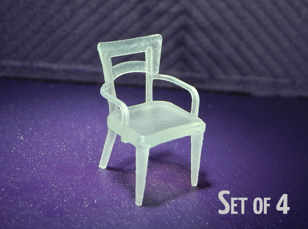 1:48 Dog Bone Chair, with Arms in Frosted Ultra Detail