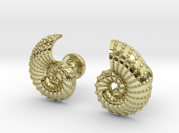 Nautilus Shell Cufflinks 3d printed