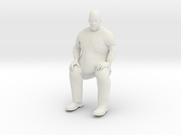 Big Guy Sitting 1/29 scale in White Natural Versatile Plastic