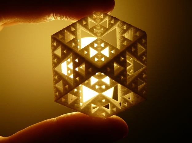 Sierpinski Cuboctahedron Fractal 3d printed White strong & Flexible