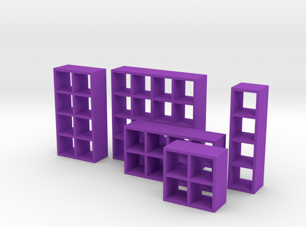1:48 Set of Bookcases in Purple Processed Versatile Plastic