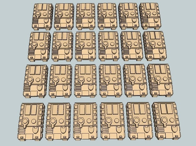 """Team Sabre"" 3mm Tracked APCs (24 Pcs) in White Strong & Flexible"